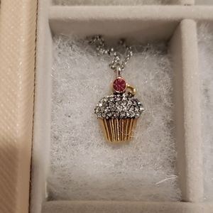 Juicy Couture Rhinestone Cupcake Necklace Pink